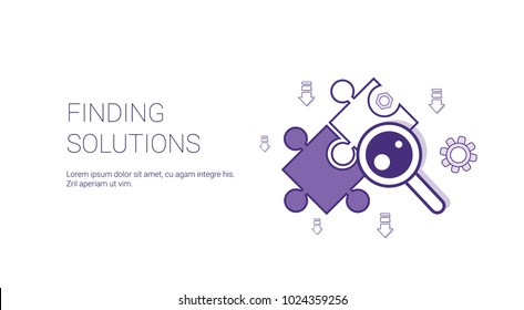 Finding Solutions Web Banner With Copy Space Business Decision Concept Vector Illustration