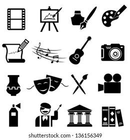 Fine arts icon set in black