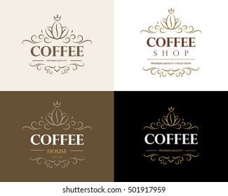 Fine flourish luxury calligraphic coffee emblem, design, template, label. Vector vintage coffee logo (symbol) for cafe, restaurant, shop.