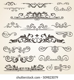 Fine line set of design elements isolated on light background. Vector frame element collection. Book dividers
