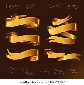 Fine line set of golden design elements isolated on dark brown background