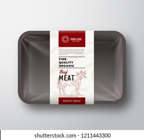Fine Quality Beef Meat. Abstract Vector Plastic Tray Container with Cellophane Cover. Packaging Design Label. Modern Typography and Hand Drawn Cow Sketch Background Layout. Isolated.