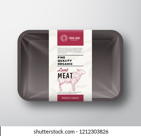 Fine Quality Lamb Meat. Abstract Vector Plastic Tray Container with Cellophane Cover. Packaging Design Label. Modern Typography and Hand Drawn Sheep Sketch Background Layout. Isolated.