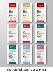 Fine Quality Organic Meat and Poultry Vertical Labels Set. Abstract Vector Packaging Design. Modern Typography and Hand Drawn Pig, Cow and Other Farm Animals Silhouette Background Layouts. Isolated.