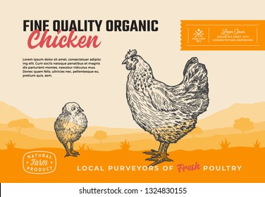 Fine Quality Organic Poultry. Abstract Vector Meat Packaging Design or Label. Modern Typography and Hand Drawn Chicken with Chick Silhouettes. Rural Pasture Landscape Background Layout with Banner.