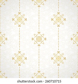 Fine seamless vector pattern with ornate decor. Golden line art decor on light background. Exquisite wallpaper in Eastern style, vintage backdrop, ornate texture. Filigree romantic pattern fill.