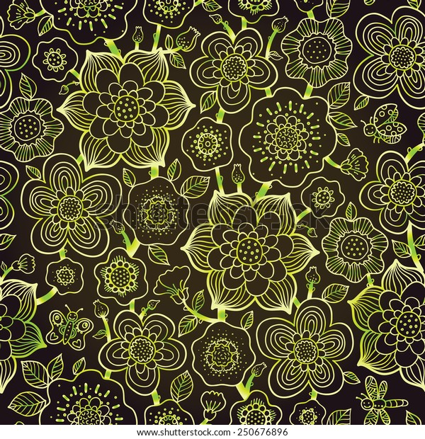 Fine summer vector pattern with butterfly. Line art flowers on dark background. Green outline wallpaper. Vector vintage backdrop. Endless ornate texture. Bright contrast pattern fill.