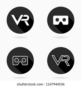 Fine vector icon with VR logo in circle. Flat design with long shadow. Virtual reality black and white logo