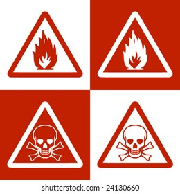 Fine vector image of flammable & danger of dead symbol. Double version