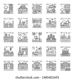 Finest designs of beach illustrations in line style.