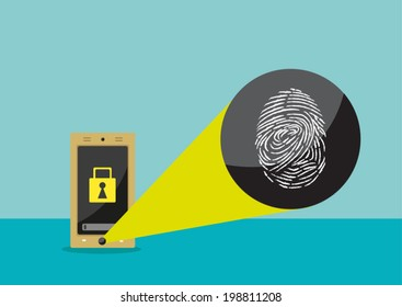 Fingeprint Scanner to unlock device. Flat Vector eps10