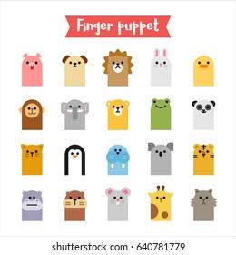 finger animal puppet toy vector illustration, flat design