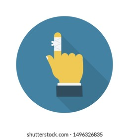 finger bandage glyph flat vector icon