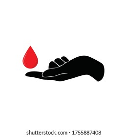 Finger with blood drop illustration. Perfect blood test design for healthcare collection. Symbol of blood test. Vector illustration