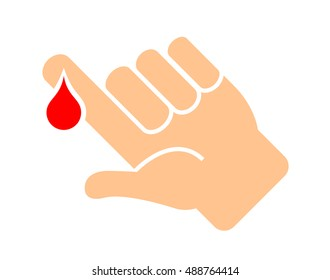 Finger with blood drop vector illustration isolated on white background