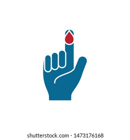 finger and blood icon diabetes symbol logo template