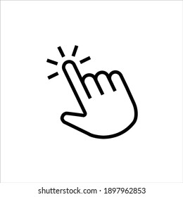 Finger Click Icon Vector line point, click, perfect icons. Editable stroke, isolated icons