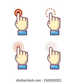 finger clicks on the screen with gesture index finger tapping