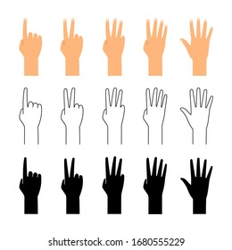 Finger count. Hand counting isolated on white background. People finger numbers countdown vector set