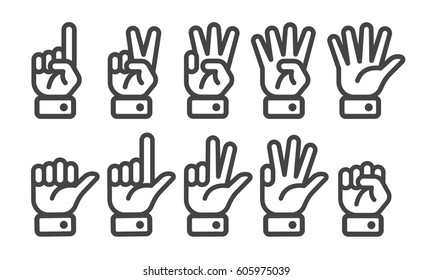 finger counting  line icon