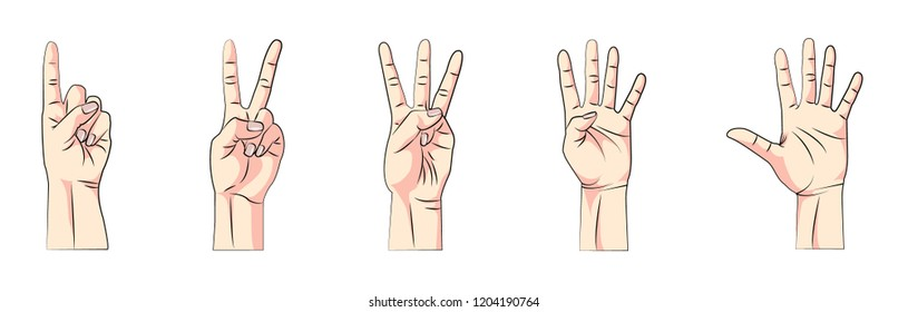 Finger counting. One, two, three, four, five.