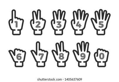 finger counting thin line icon set,vector and illustration