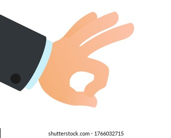 Finger flick of male hand, isolated on white. Close up of flicking gesture. Finger kick. Vector illustration, flat design, cartoon style, isolated on white background.