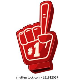 "Finger foam ""# 1"" icon isolated on white background. Vector cartoon illustration of red gloves for fans on hand."