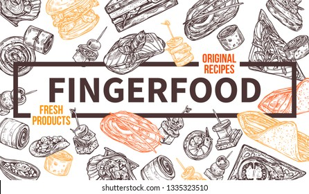 Finger food background, template for website or horizontal poster with frame. Snacks, appetizers, mini canapes, sandwiches, seafood, hamburger, rolls. Vector hand drawn sketch illustration