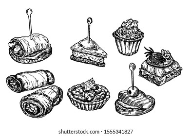 Finger food sketch. Food appetizer and snack sketch. Canapes, bruschetta, sandwich drawing for buffet, restaurant, catering service. Tapas vector drawings illustration.
