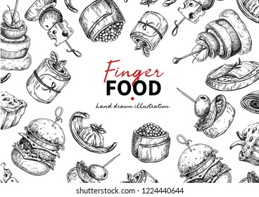 Finger food vector frame drawing. Catering service frame template for flyer, banner, poster. Canape and snack engraved illustration. Restaurant or buffet menu. Appetizer sketch.