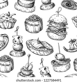 Finger food vector seamless pattern. Food appetizer and snack sketch. Canapes, bruschetta, sandwich drawing for buffet, restaurant, catering service. Tapas engraved illustration.