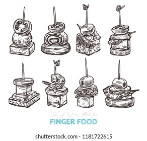 Finger food vector sketch hand drawn illustration. Appetizers served on sticks with cheese, salmon, bread, olive, shrimp, tomato, vegetables and salad