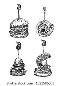 Finger food vector sketch hand drawn illustration. Food appetizer and snack sketch. Canapes, bruschetta, sandwich for buffet, restaurant, catering service. Tapas engraved illustration.