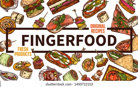 Finger food web banner hand drawn vector template. Takeaway dishes, appetizers sketch. Street food and fastfood restaurant poster layout. Takeout delicious sandwiches and burgers doodles