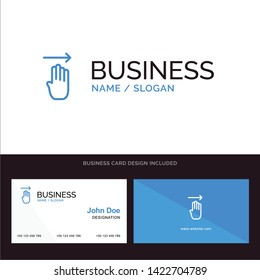 Finger, Four, Gesture, Right Blue Business logo and Business Card Template. Front and Back Design