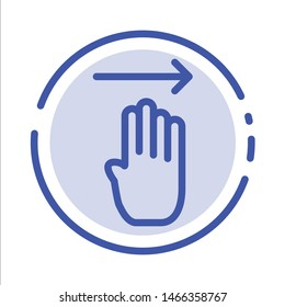 Finger, Four, Gesture, Right Blue Dotted Line Line Icon. Vector Icon Template background