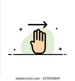 Finger, Four, Gesture, Right  Business Flat Line Filled Icon Vector Banner Template. Vector Icon Template background