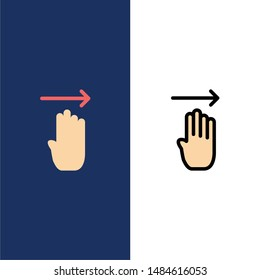 Finger, Four, Gesture, Right  Icons. Flat and Line Filled Icon Set Vector Blue Background. Vector Icon Template background