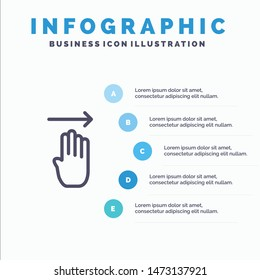 Finger, Four, Gesture, Right Line icon with 5 steps presentation infographics Background