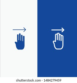 Finger, Four, Gesture, Right Line and Glyph Solid icon Blue banner Line and Glyph Solid icon Blue banner. Vector Icon Template background