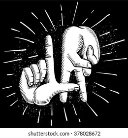 Finger gesture LA. ink drawing vector illustration. Golden state west coast travel souvenir. Wall Decor.