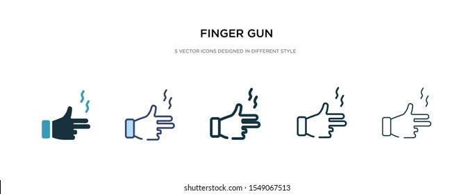 finger gun icon in different style vector illustration. two colored and black finger gun vector icons designed in filled, outline, line and stroke style can be used for web, mobile, ui