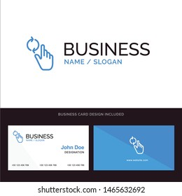 Finger, Hand, Refresh, Gesture Blue Business logo and Business Card Template. Front and Back Design. Vector Icon Template background