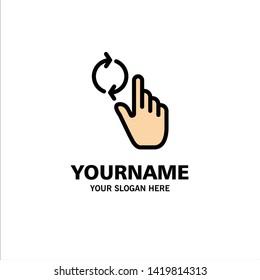 Finger, Hand, Refresh, Gesture Business Logo Template. Flat Color
