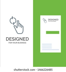 Finger, Hand, Refresh, Gesture Grey Logo Design and Business Card Template. Vector Icon Template background