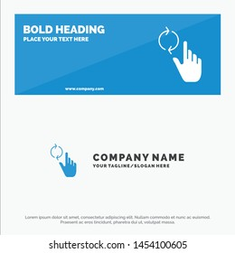 Finger, Hand, Refresh, Gesture SOlid Icon Website Banner and Business Logo Template