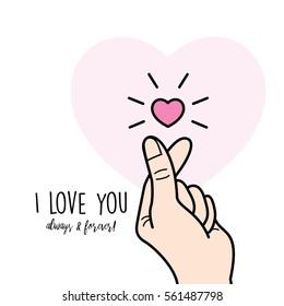 """Finger Heart"" gesture, love symbol"
