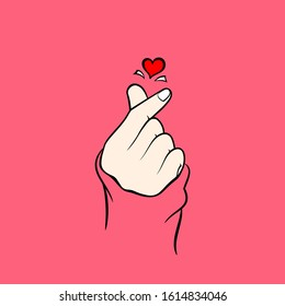 Finger heart.  Korean love sign vector illustration. Valentine's day poster decoration. hand on pink background icon