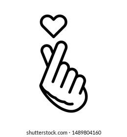 Finger Heart line black icon. Music record K-POP concept. Korean culture. Pictogram for web, mobile app, promo. UI/UX design element. Editable stroke.